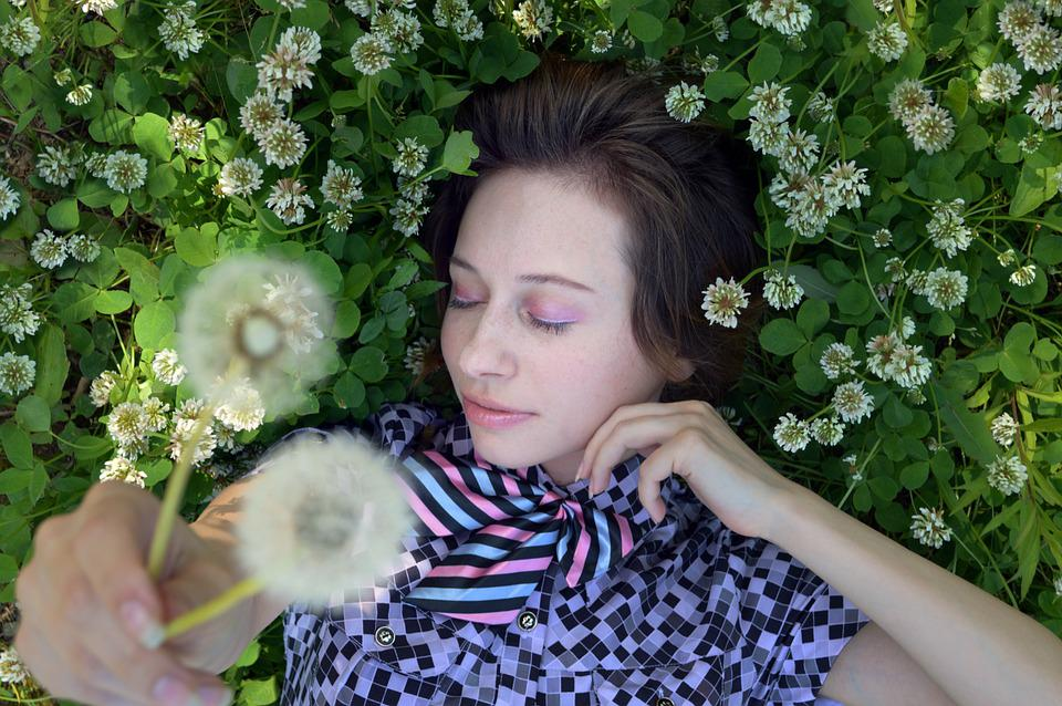 Dandelions, Clover, Girl, Tenderness, Cute, Femininity