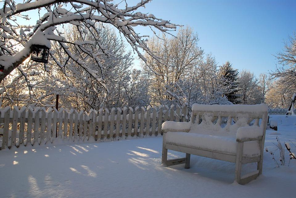 Chair, Snow, Winter, Garden, Backyard, Park, Fence
