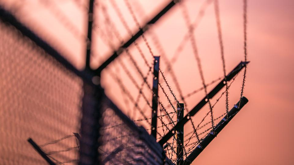 Fence, Barbed, Barbed Wire, Closing, City, Metal Mesh