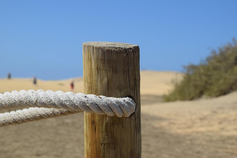 Beach, Pile, Fence, Rope, Sea, Coast, Water, Nature