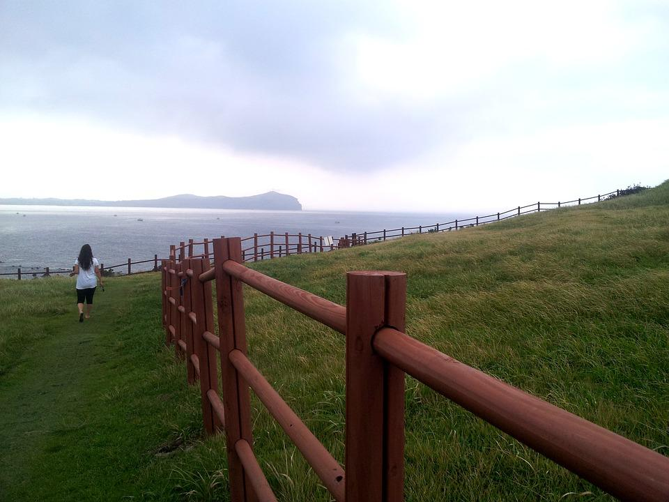 Jeju Island, Sea, Fence, Waves, Jeju Island Sea