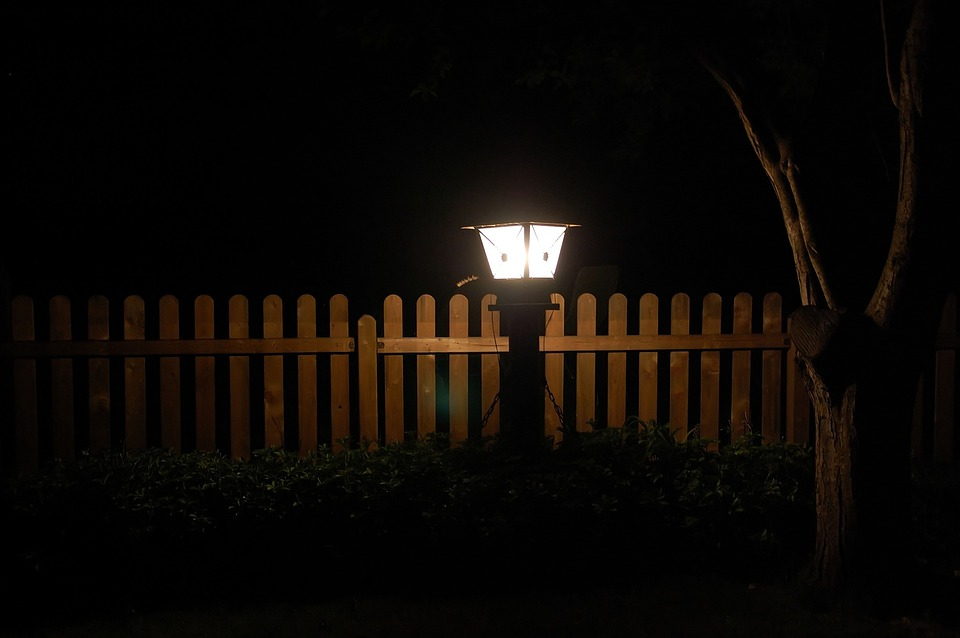 Garden, At Night, Lantern, Fence, Lighting, Lamp, Light