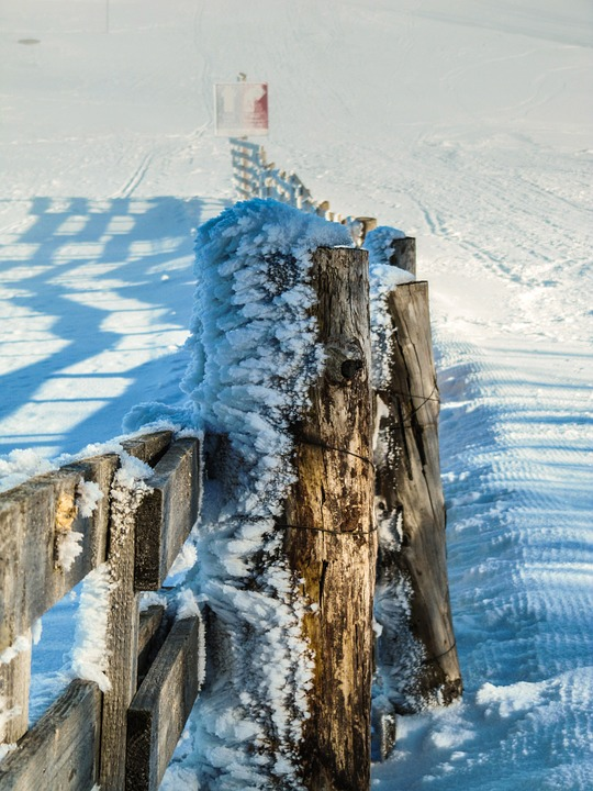 Foothills Of The Alps, Mountains, Winter, Snow, Fence