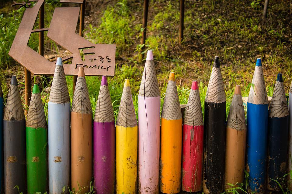 Pencil, Wall, Colorful, Design, Mountain, Garden, Fence