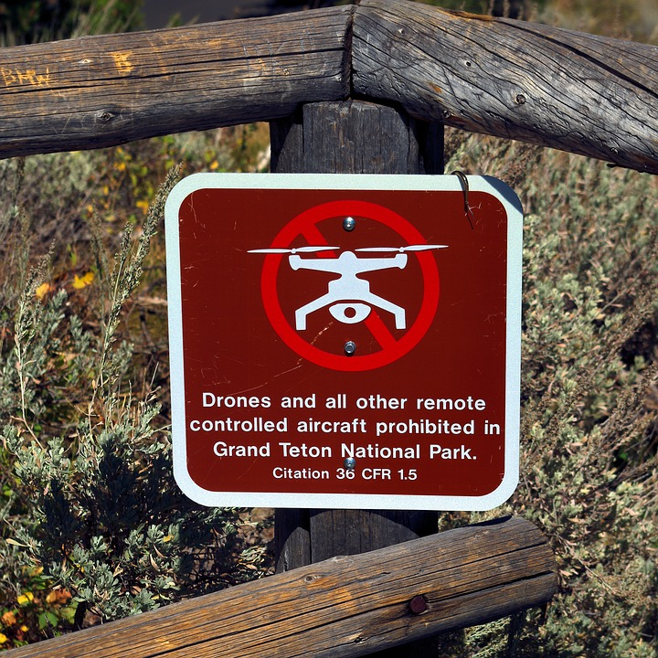 Drone Warning, Drone, Fence, Sign, Grand, Teton