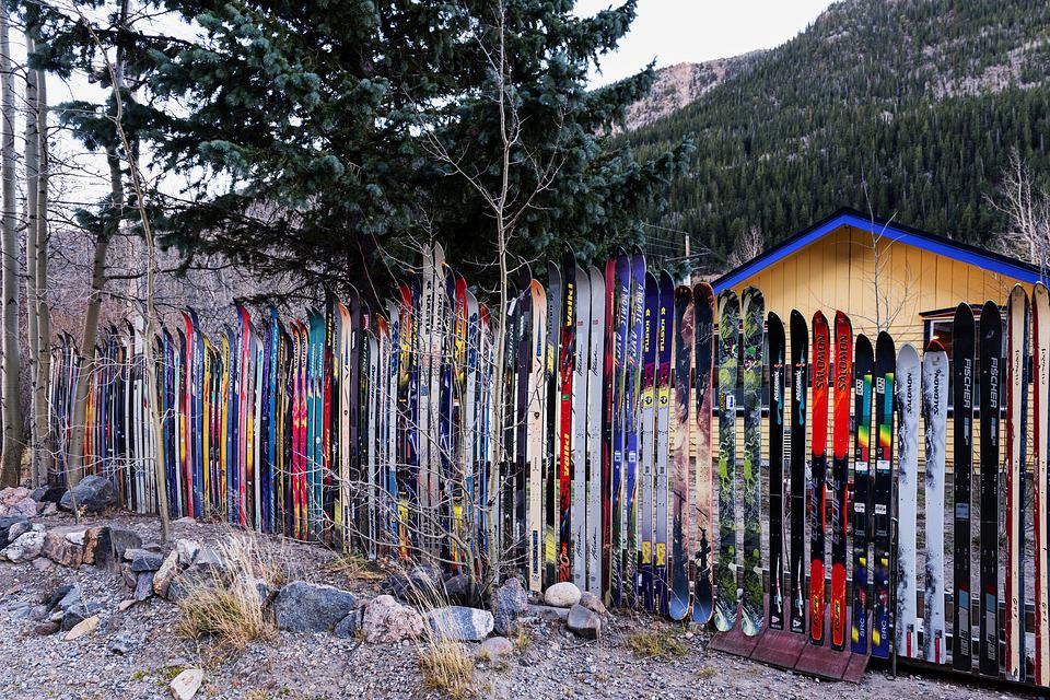Idaho Springs, Colorado, Skis, Fence, Unique, Different