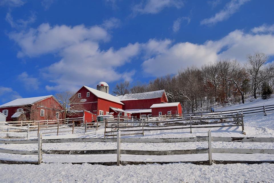 Winter, Farm, Snow, Outdoors, Landscape, Barn, Fence