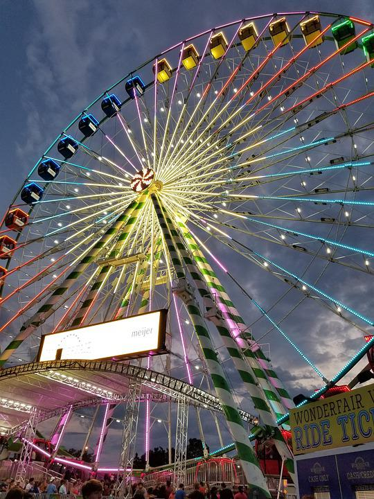 Ferris Wheel, Fair, Wheel, Colorful, Festival, Dusk