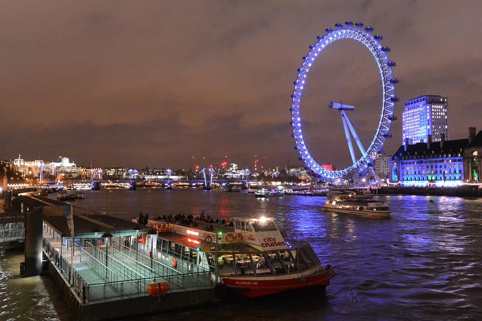 Ferris Wheel, London Eye, Wheel, Night, River Thames