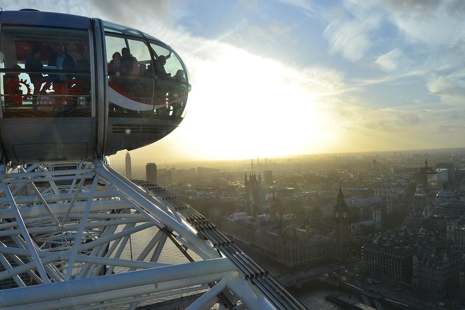 London Eye, Ferris Wheel, London, Sky, Blue, Sunset