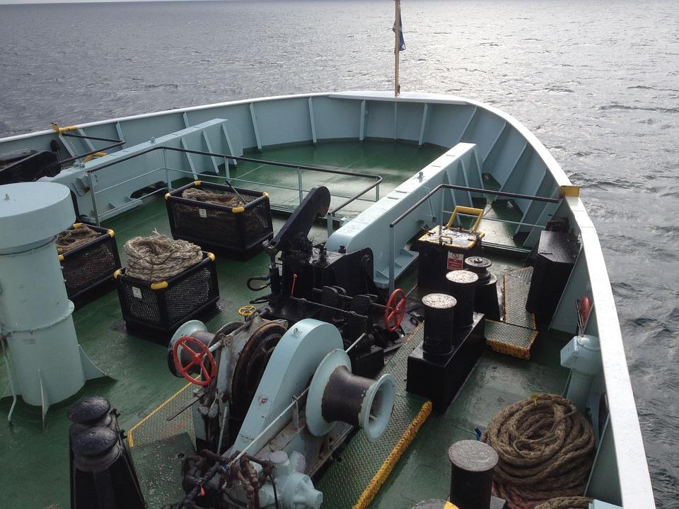 Car Ferry, Bow, Winch, Ferry, Boat, Ship, Sea