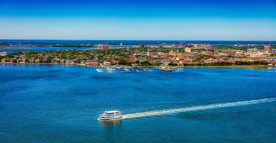 Ferry, Riverboat, Ship, Bay, Harbor, Aerial View, Hdr