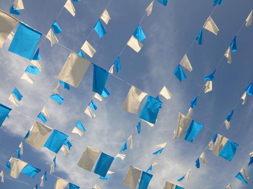 Pennant, Garlands, Blue, White, Festival, Cheerful