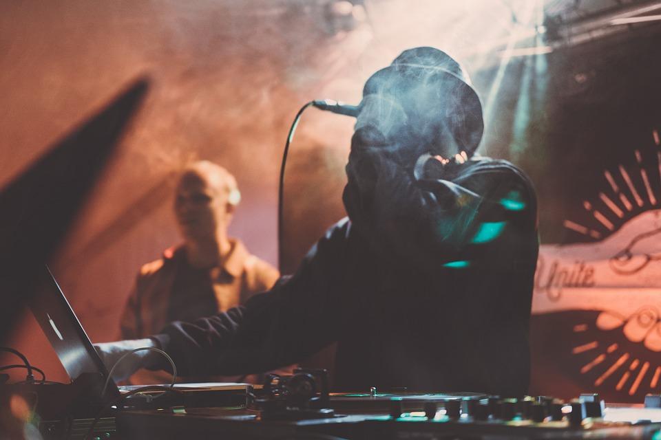 Blurry, Concert, Dj, Festival, Laptop, Leather Jacket