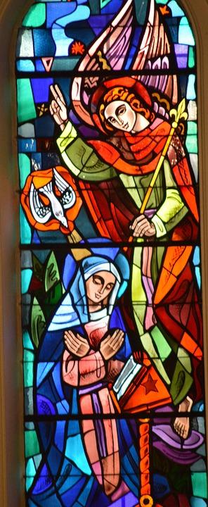 Stained Glass, Window, Church, Festival, Faith, Mary