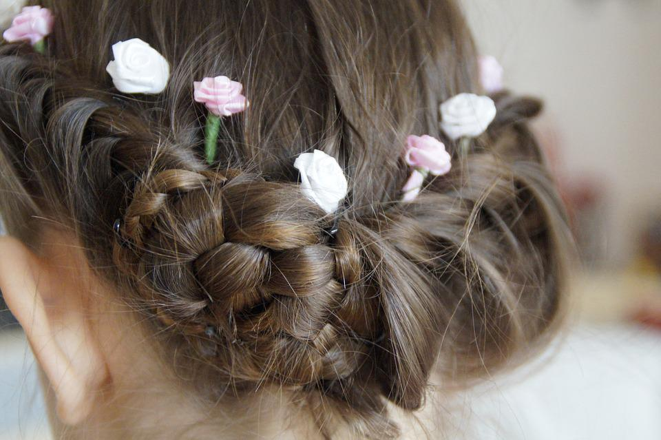 Hairstyle, Chic, Festive, Girl, Bun, Artfully, Flowers