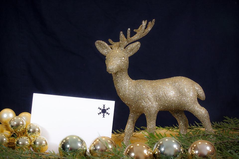 Hirsch, Gold, Glitter, Christmas, Decoration, Festive