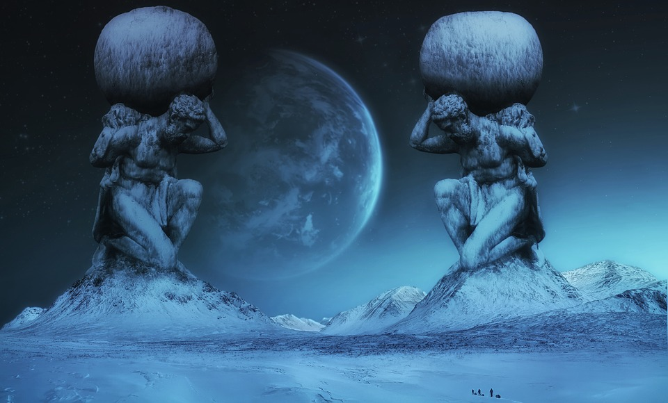Fiction, Collage, Statues, Mountains, Snow, Planet