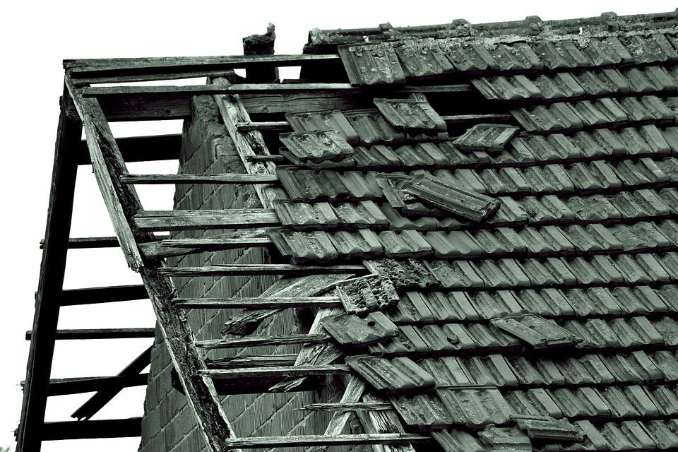 Old House, Barn, Field Barn, Roof, Broken Roof, Tile