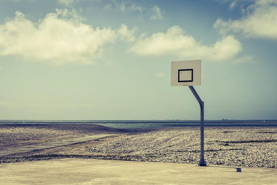 Basketball, Field, Empty, Beach, Court, Coastline