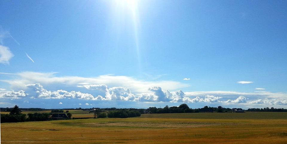 Landscape, Nature, Blue, Sky, Sun, Field, Clouds