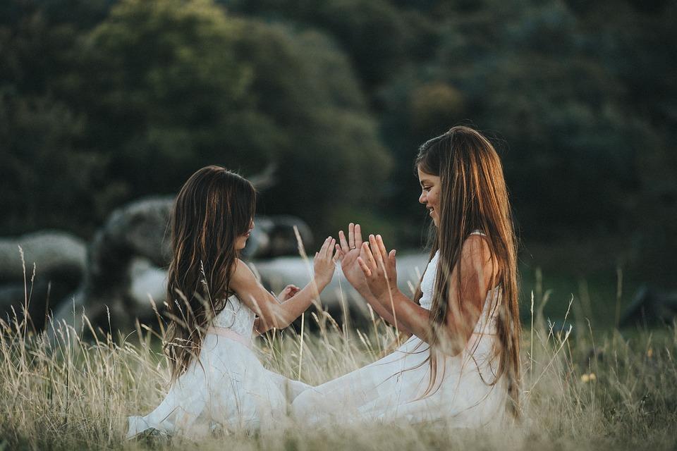 People, Girls, Kid, Children, Playing, Field, Grass