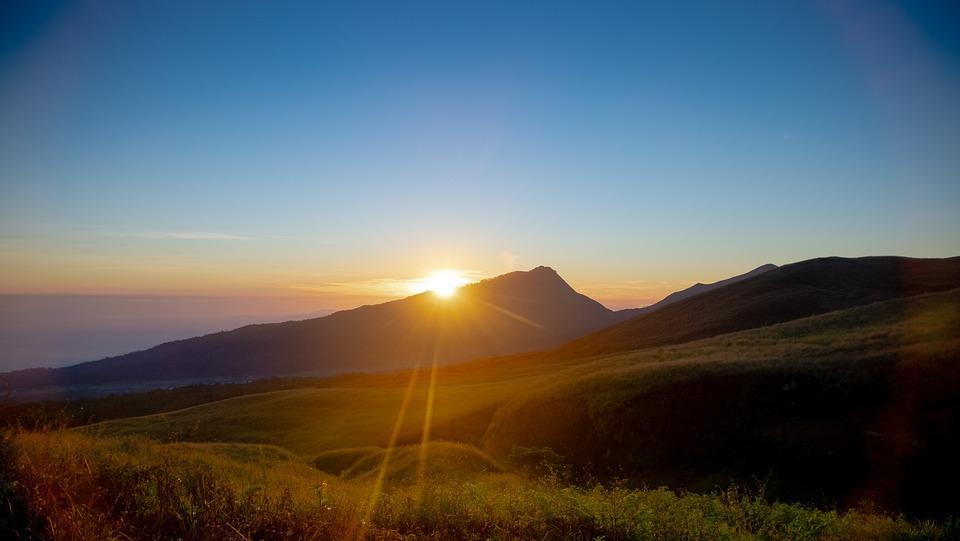 Volcano, Landscape, Sunset, Sunlight, Dusk, Field