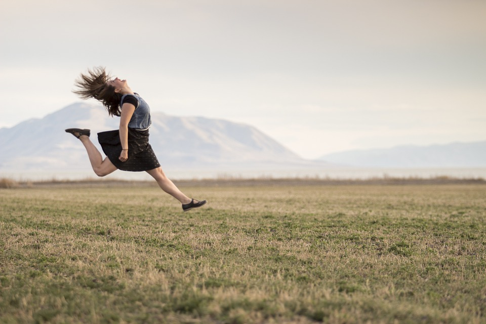 Girl, Jumping, Happy, Smiling, Field, Countryside