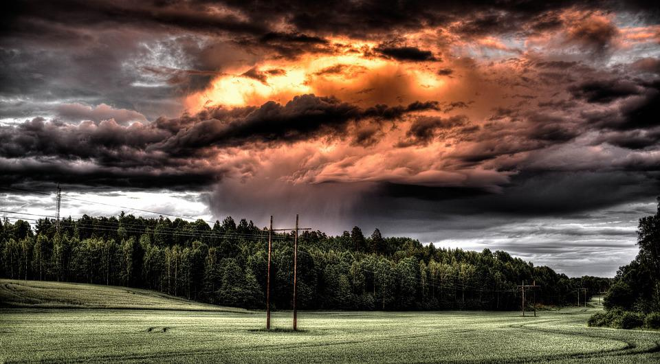 Field, Cloud, Countryside, Hdr, Fire, Rain, Storm