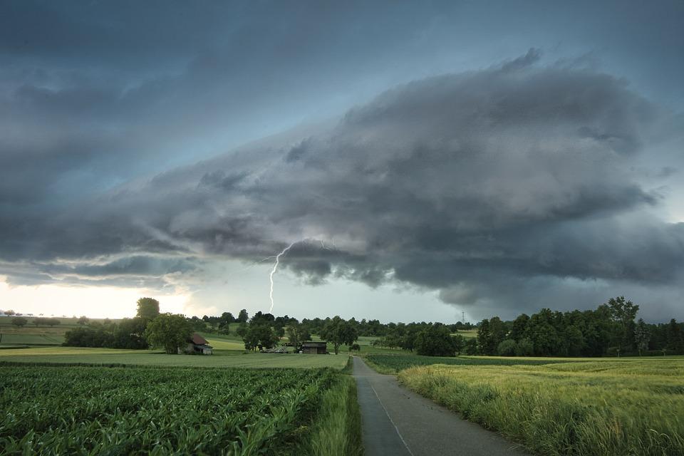 Lightning, Thunderstorm, Rural, Field, Farm, Road