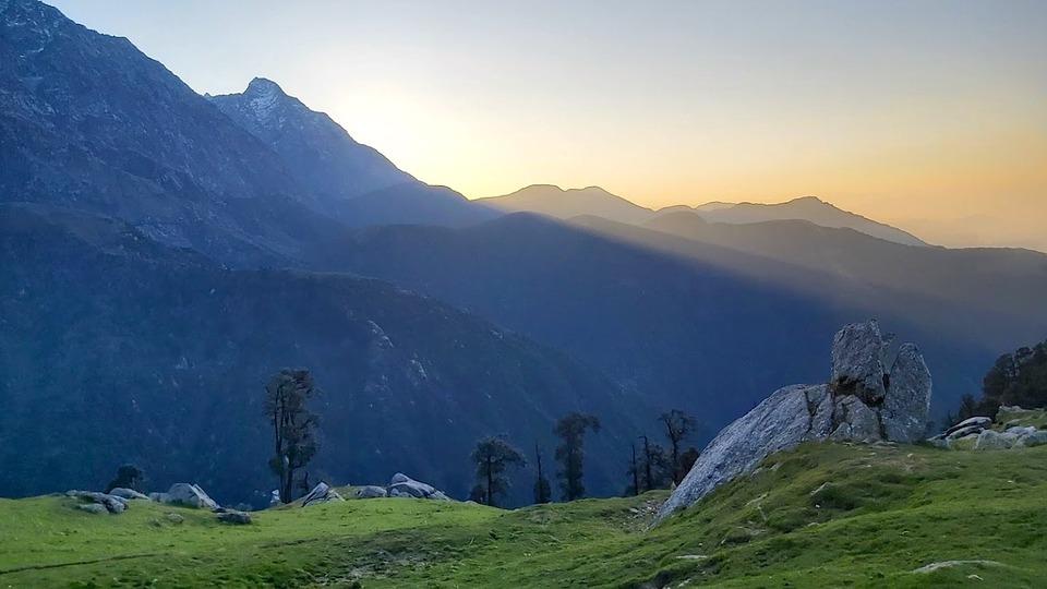 Mountain Ranges, Sunlight, Field, Meadow, Grass
