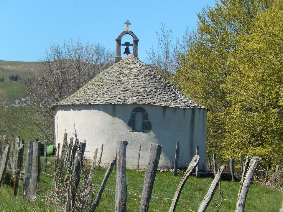 Chapel, Auvergne, Field, Nature