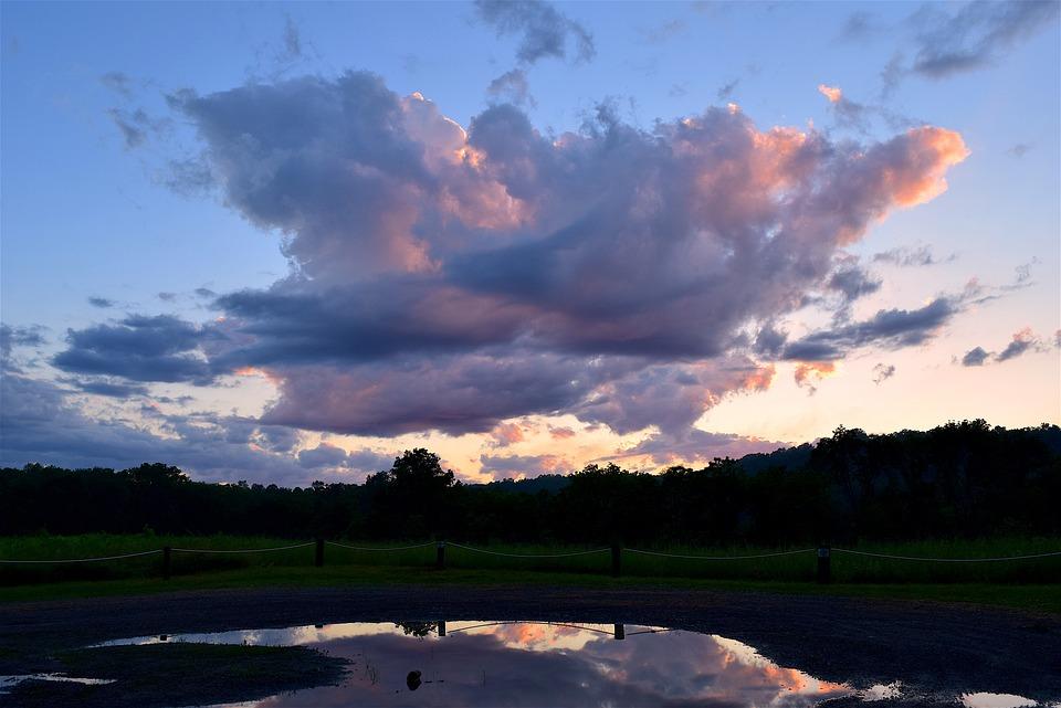 Clouds, Sky, Sunset, Field, Nature, Landscape, Mountain