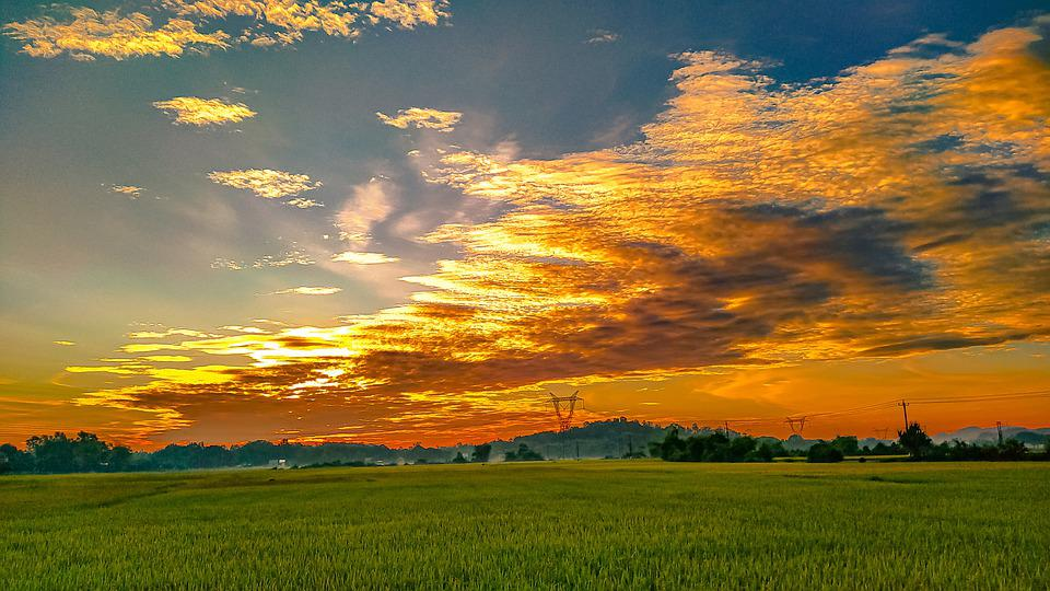 Nature, Sunset, Field, Countryside, Rural, Outdoors