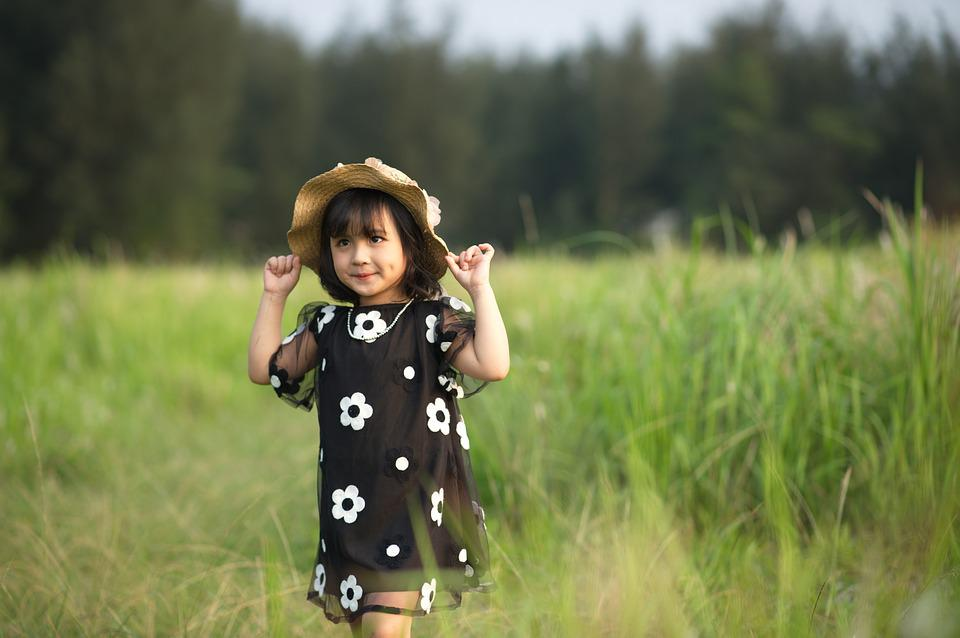 Girl, Child, Dress, Hat, Field, Grass, Flowers, Playing