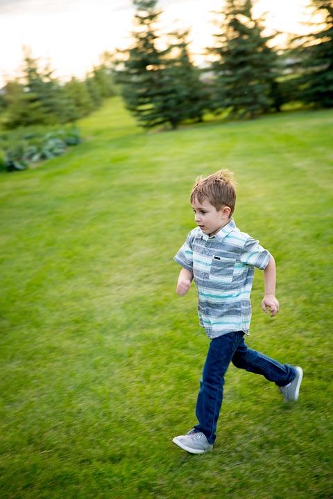 Field, Playing, Kids, Running, Children