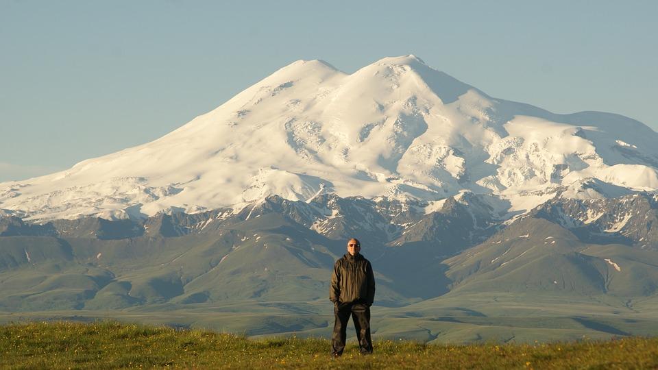 Man, Field, Mountain, Pose, Snow, Landscape