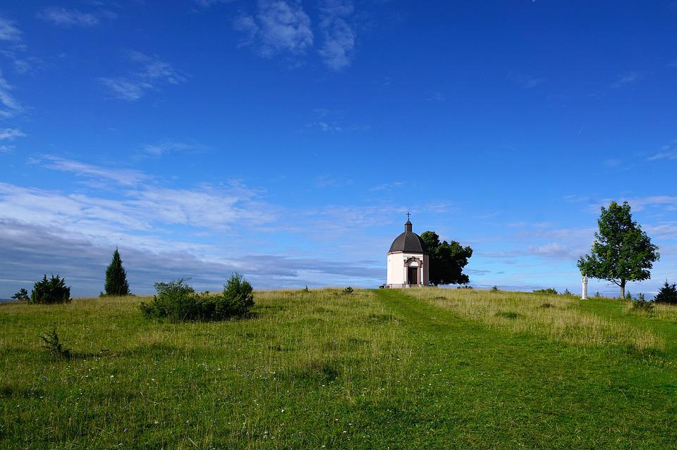 Chapel, Böttingen, Summer, Nature, Blue, Spring, Field