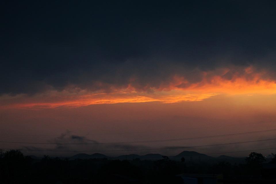 Mountains, Sunset, Dusk, Clouds, Sky, Dawn, Field