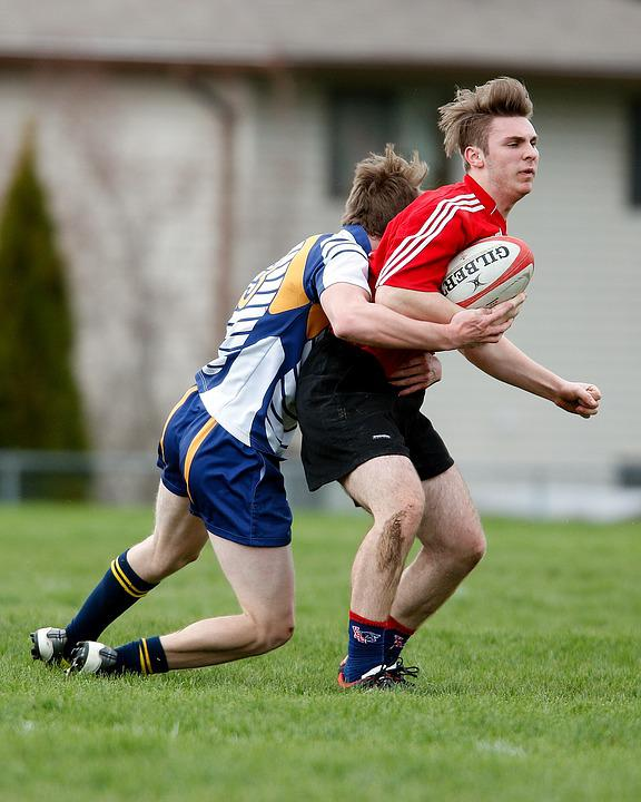 Rugby, Tackle, Players, Field, Grass, Competition