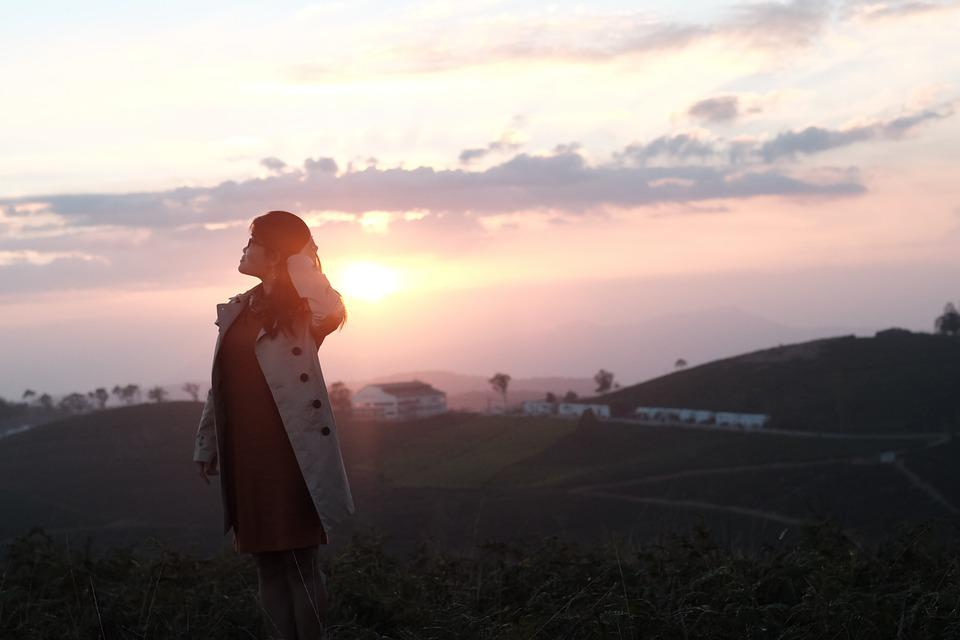 Woman, Model, Sunset, Field, Valley, Farm, Nature