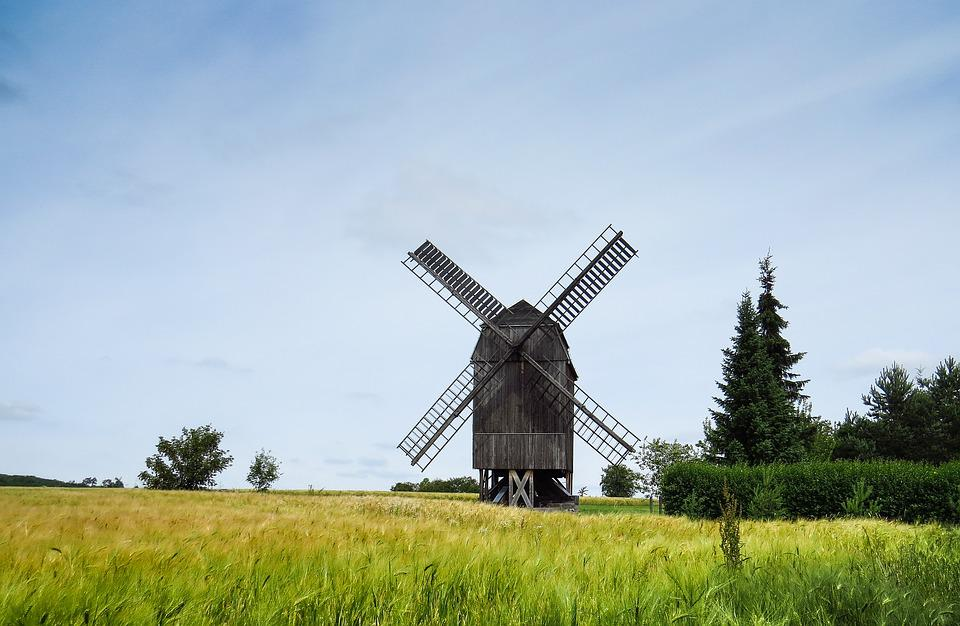 Windmill, Mill, Windräder, Landscape, Field, Cornfield