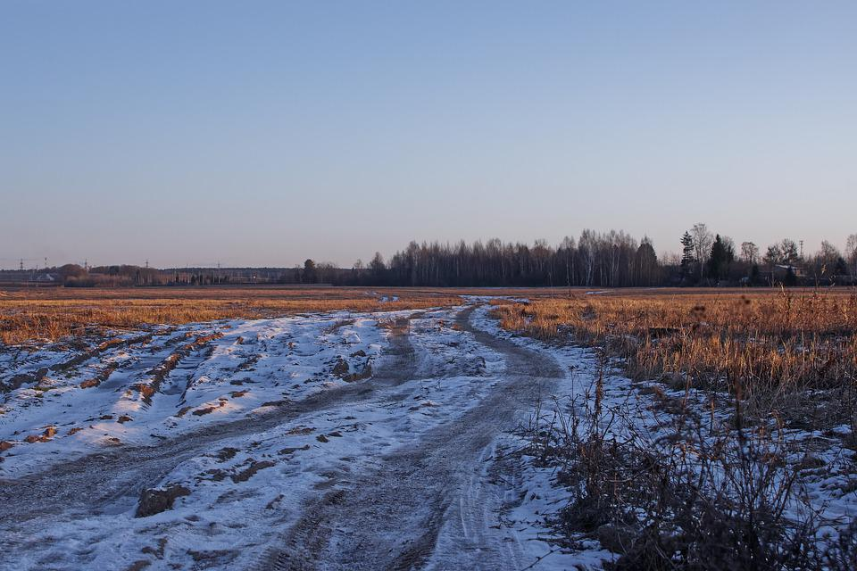 Landscape, Background, Field, Snow, Road, Sky, Winter