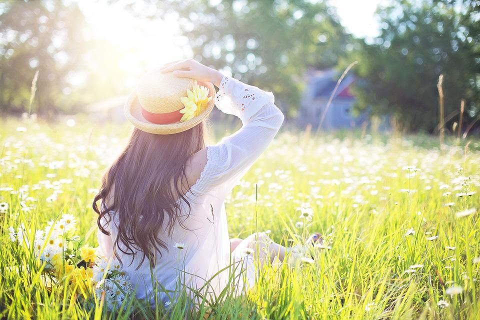 Woman, Field, Sunlight, Fashion, Hat, Girl, Female