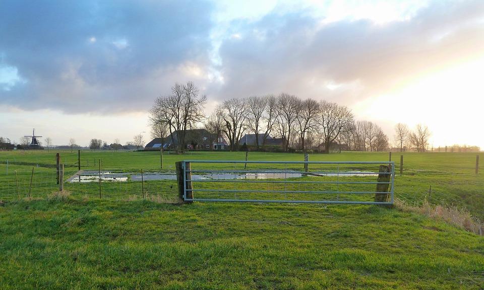 Netherlands, Landscape, Scenic, Sky, Clouds, Fields