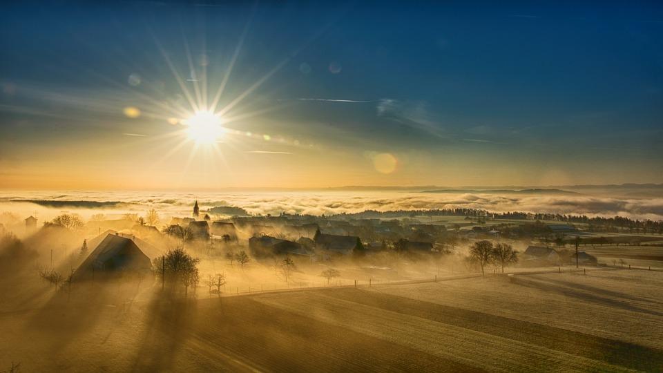 Village, Sunlight, Fields, Town, Townscape, Fog