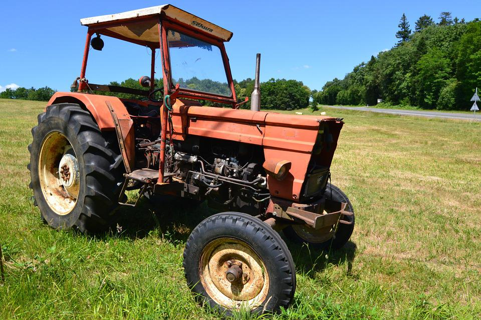 Tractor, Red Tractor, Red, Old Tractor, Fields, Summer
