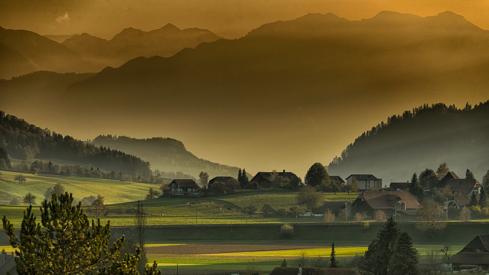 Mountains, Village, Trees, Hills, Fields, Landscape