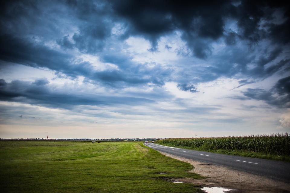 Horizon, Road, Way, Fields, Vantage Point, Scenery