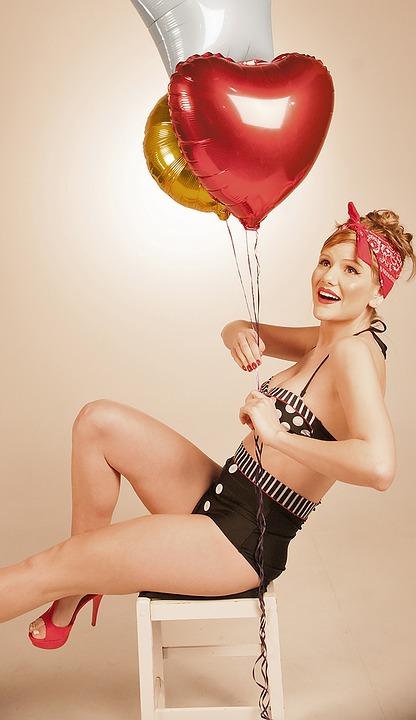 Girl, Baloon, Beach, Fifities, Heart, Heart Baloon